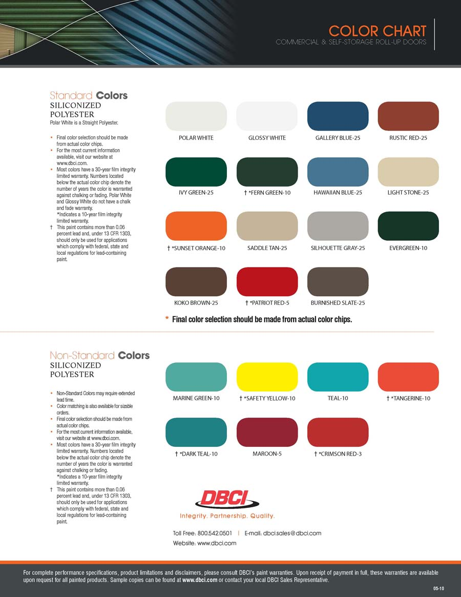 Incroyable Amarr Garage Door Color Chart Designs
